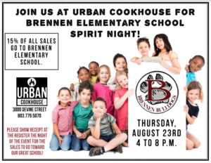 Spirit Night at Urban Cookhouse – August 23rd